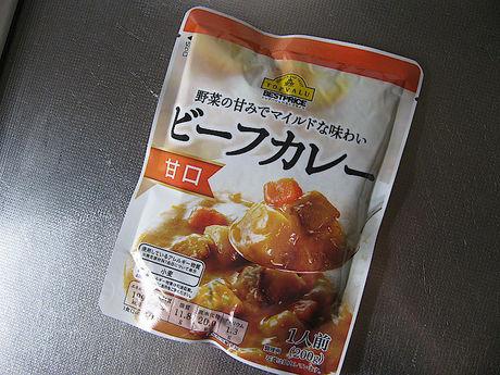 トップバリュ「野菜の甘みでマイルドな味わい ビーフカレー 甘口」パッケージ